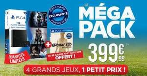 Pack console Sony PS4 (1 To) + Beyond Two Souls + Bloodborne + Heavy Rain + Uncharted 4: A Thief's End