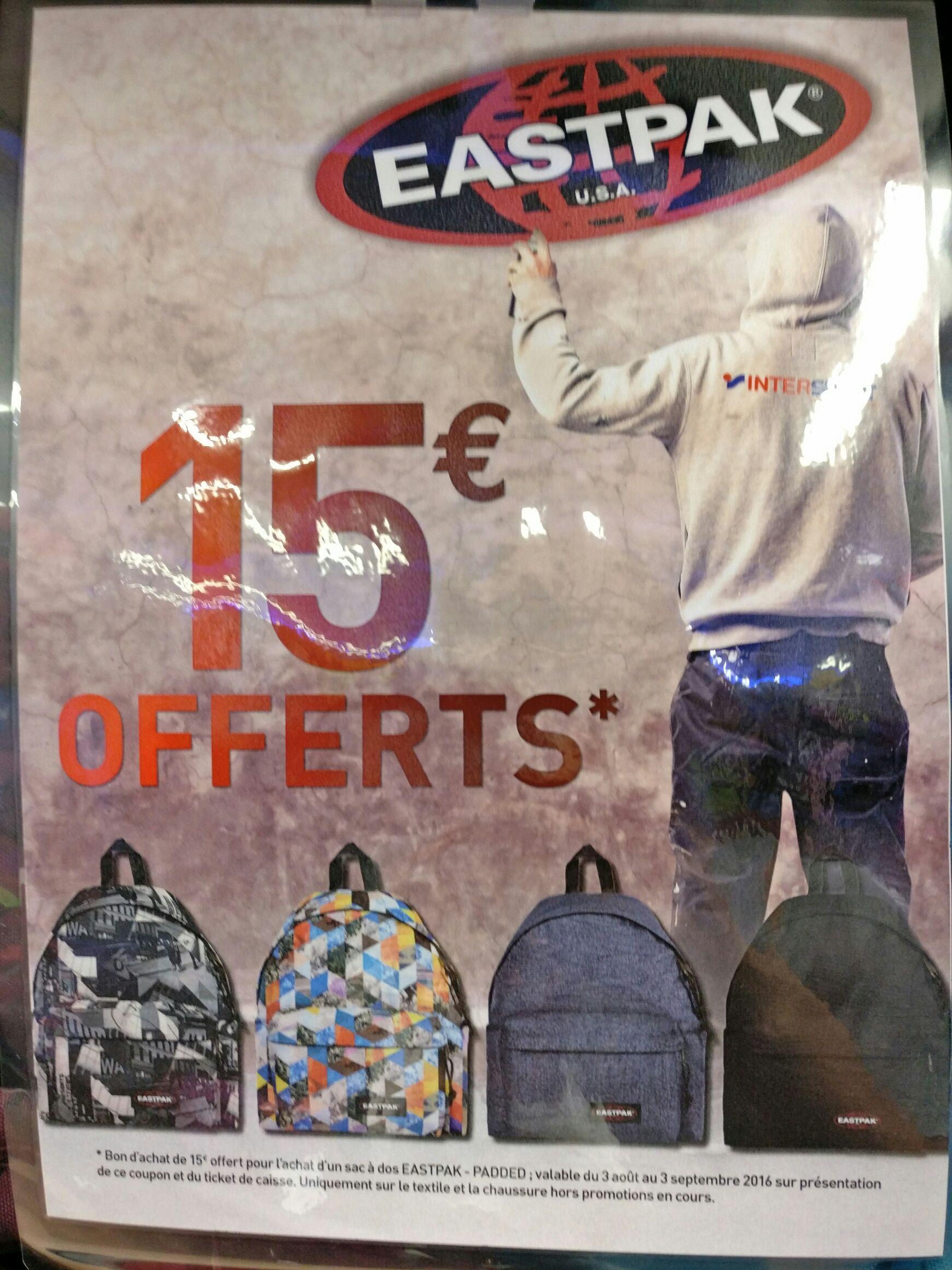 15€ offerts en bon d'achat pour l'achat d'un sac à dos Eastpak Padded (différents coloris)