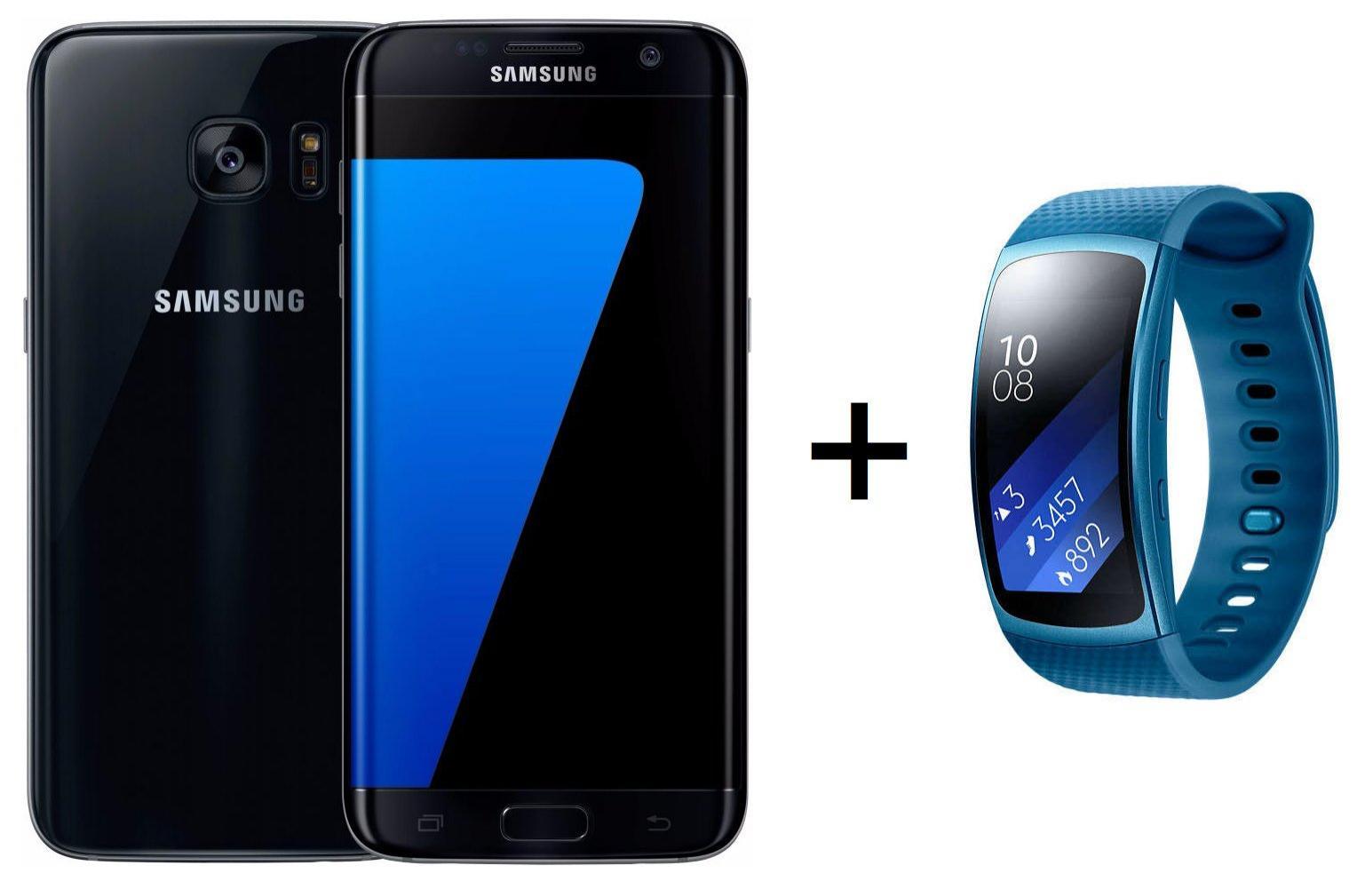 "Smartphone 5.5"" Samsung Galaxy S7 Edge - 32 Go, Noir + Montre connectée Samsung Gear Fit 2 (Bleu, Taille S)"