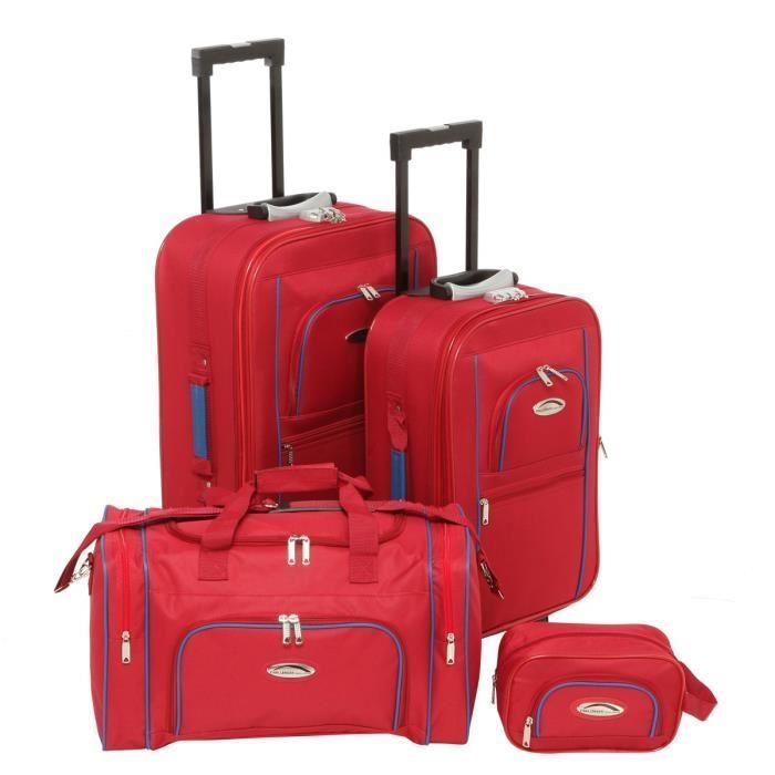 Set de voyage Challenger Rouge en Polyester - 2 Valises souples (54 et 64cm) + Sac Cabine (50cm) + Vanity (24cm)