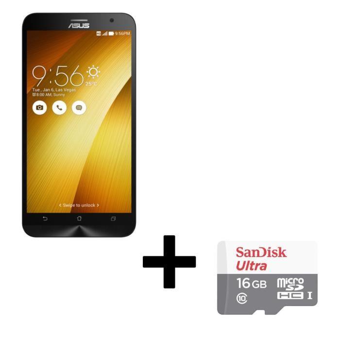 "Smartphone 5.5"" Asus Zenfone 2 ZE551ML Or - Z3580 2.3 GHz, RAM 4Go, 16Go + Carte microSDHC SanDisk Ultra 16 Go"