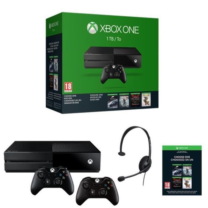 Console Xbox One 1 To + 2 manettes + 1 jeu au choix parmi une sélection