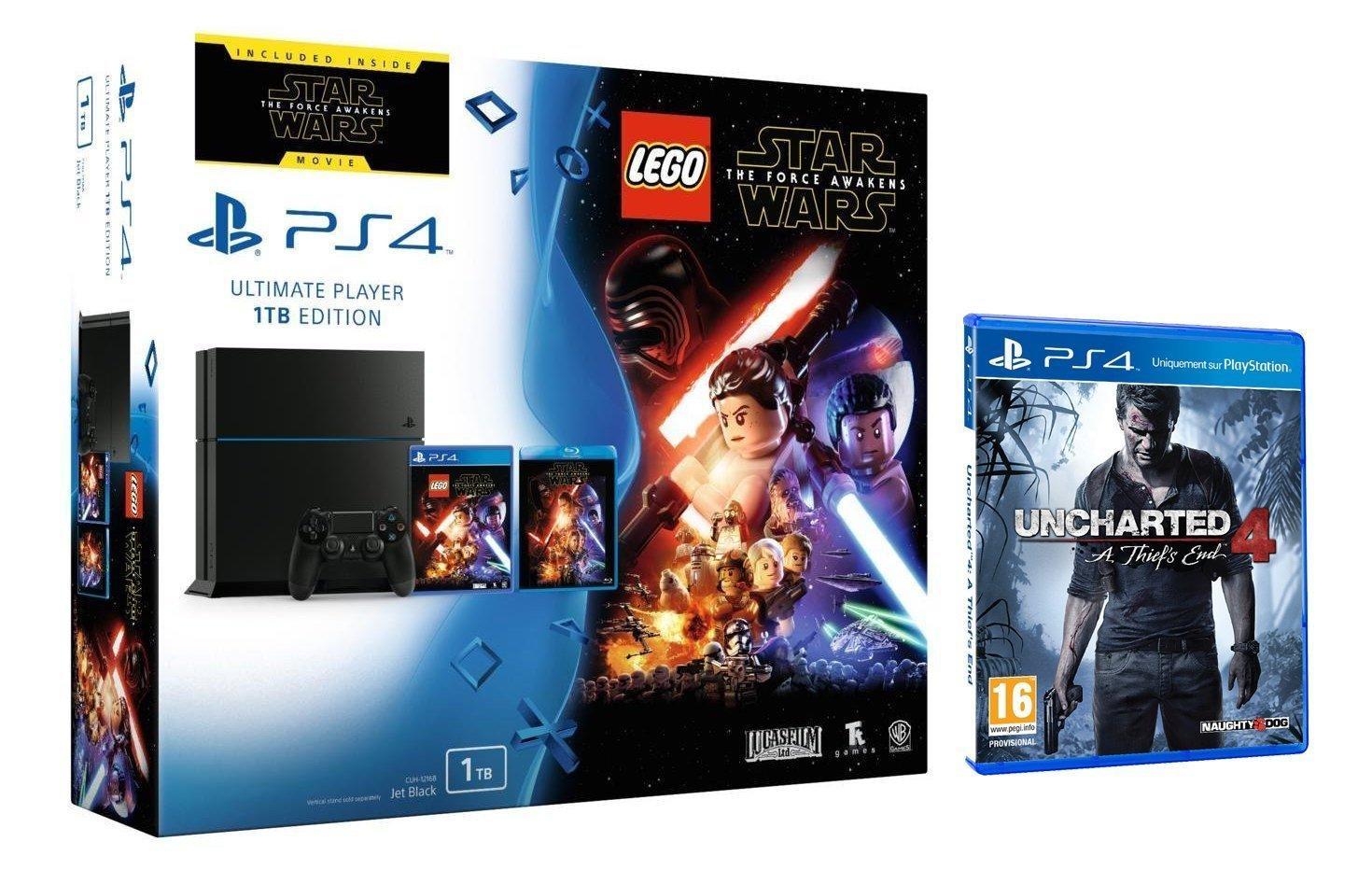 Console Sony PS4 1 To + Lego Star Wars: Le Réveil de la Force + Blu-ray Star Wars + GTA V + Uncharted 4