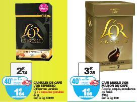 Promotion sur une sélection de cafés L'Or - Ex: Capsules de café L'Or Espresso (avec 40% sur la carte)