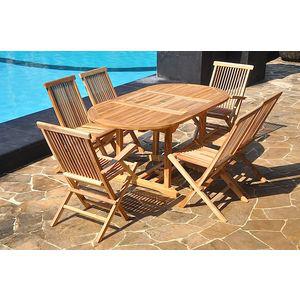 Salon en teck massif 6 pers + 4 chaises + 2 fauteuils + table ovale / Frais de port inclus
