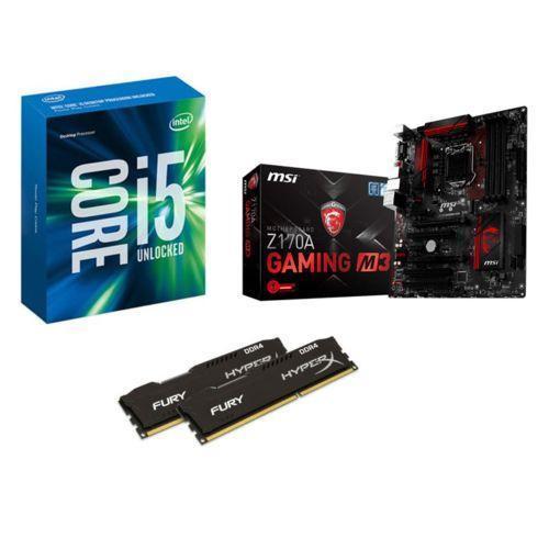 Processeur Intel i5-6600K + Carte mère MSI Z170A Gaming M3 + Mémoire DDR4 Kingston HyperX Fury 16 Go (2x 8 Go, 2400 MHz, Cas 15)