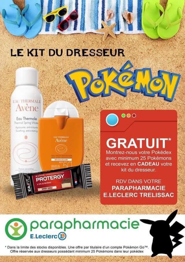 Kit du dresseur (crèmes solaires + barre protéinée) offert sur présentation du jeu Pokemon Go