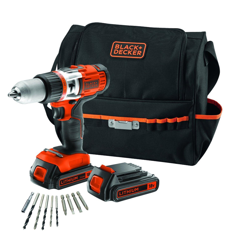 Perceuse Sans-fil à percussion Black & Decker EGBHP188BSA-QW  - 18V +  10 Accessoires + 2 Batteries Li-ion 2Ah