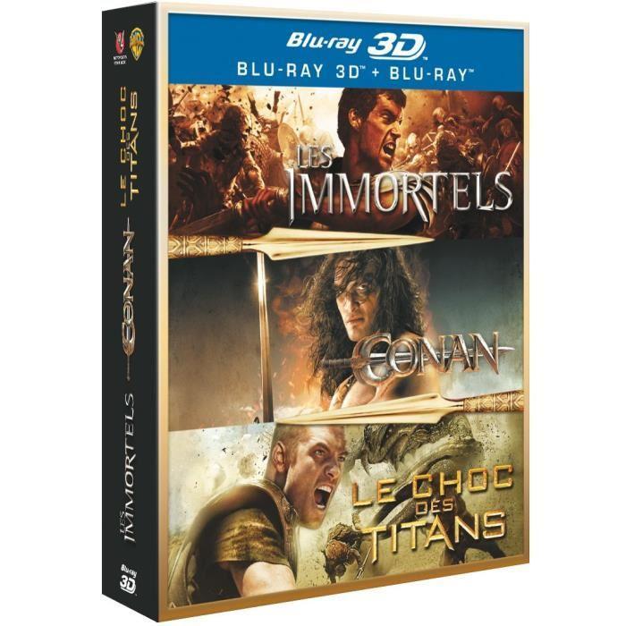 Coffret Blu-ray 3D + 2D Guerriers  : Conan + Les Immortels + Le choc des Titans