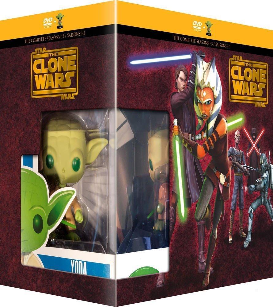 Coffret DVD Star Wars - The Clone Wars  Saison 1 à 5 + figurine Pop Funko Yoda
