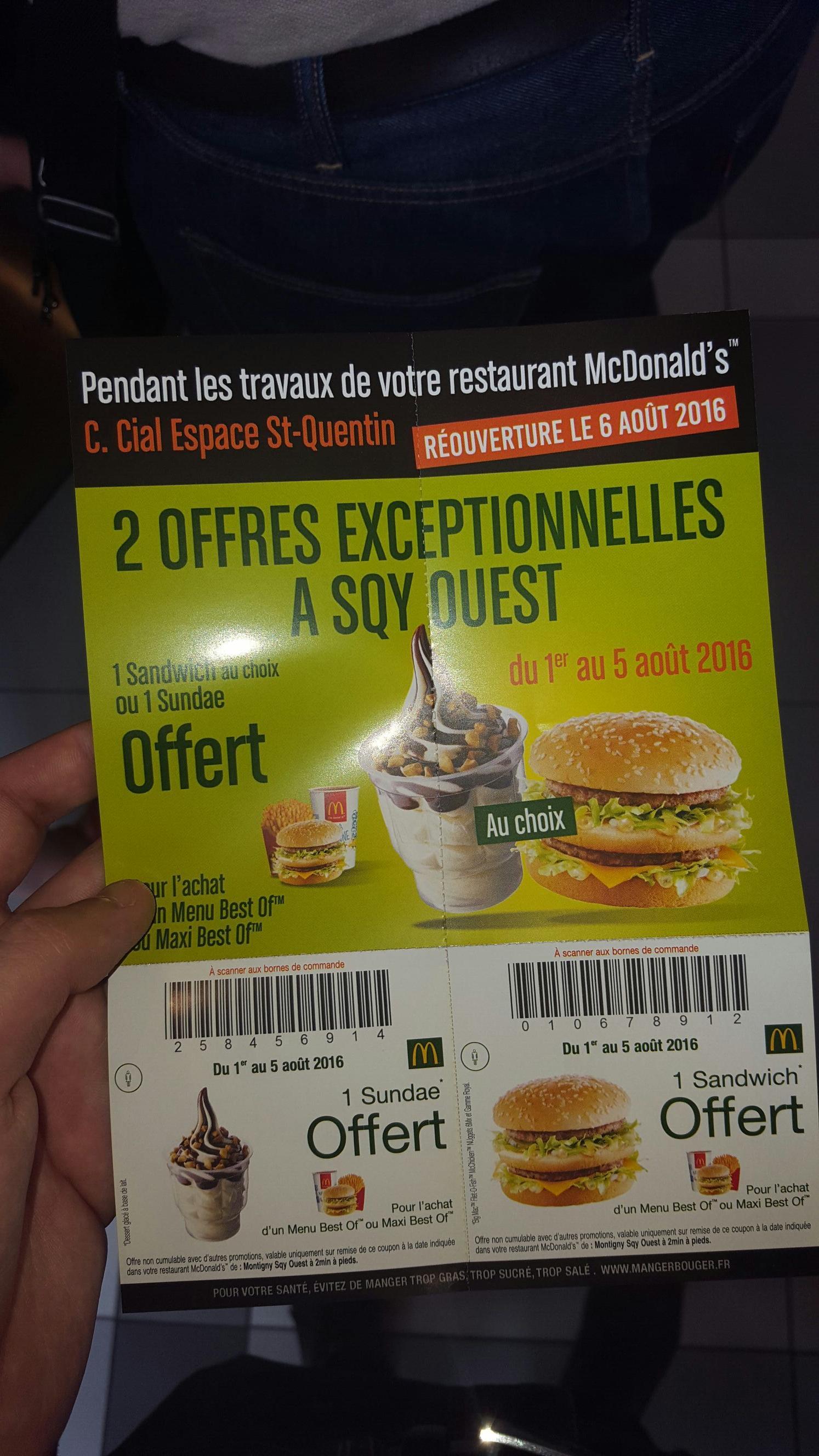 1 Menu Best of acheté = 1 Sundae ou 1 Big mac offert
