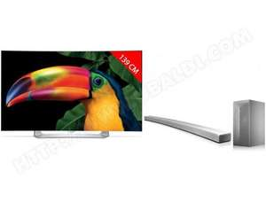 "TV 55"" incurvée LG 55EG910V - full HD, OLED, 3D, smart TV + barre de son LG LAS855M (via ODR de 400€)"