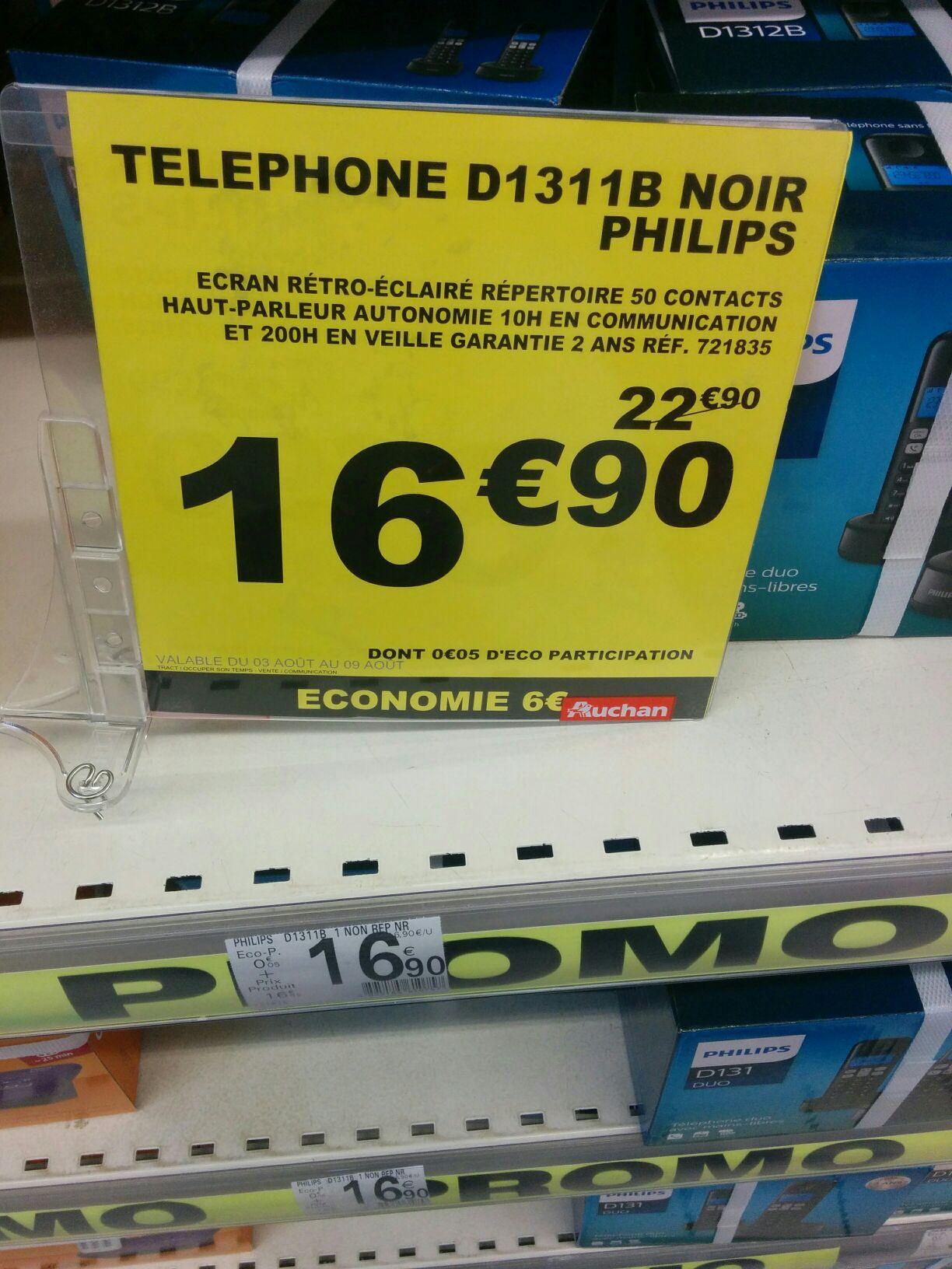 Téléphone sans fil DECT Philips D1311B - Noir