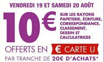 [Carte de fidélité] 10€ offerts en Carte U par tranche de 20€ d'achats sur les fournitures scolaires