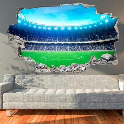 Sélection de stickers muraux en promo - Ex : Sticker mural 3D Stade de foot (135 x 90 cm)