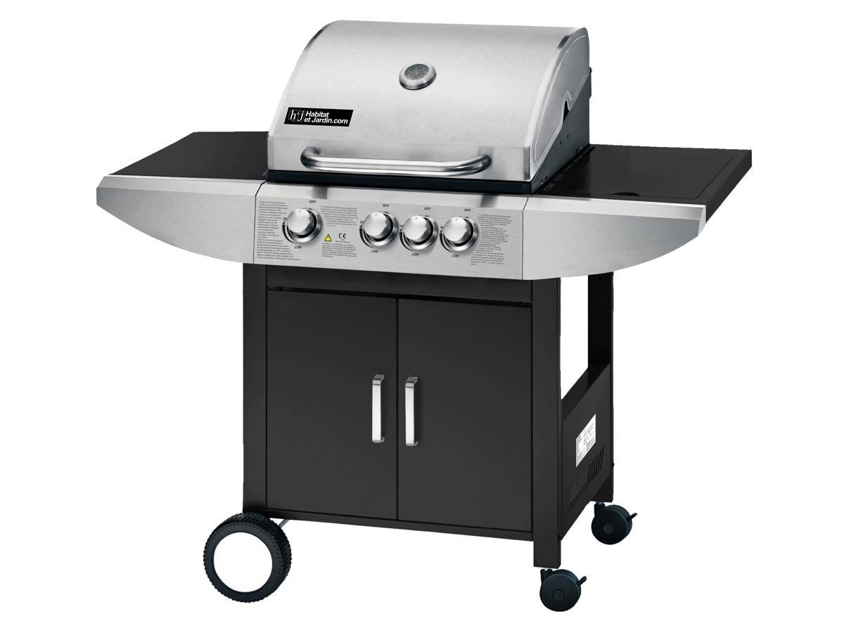 "Barbecue gaz ""Sirocco 3"" - 3 brûleurs + un feu latéral - 9.45 kW"