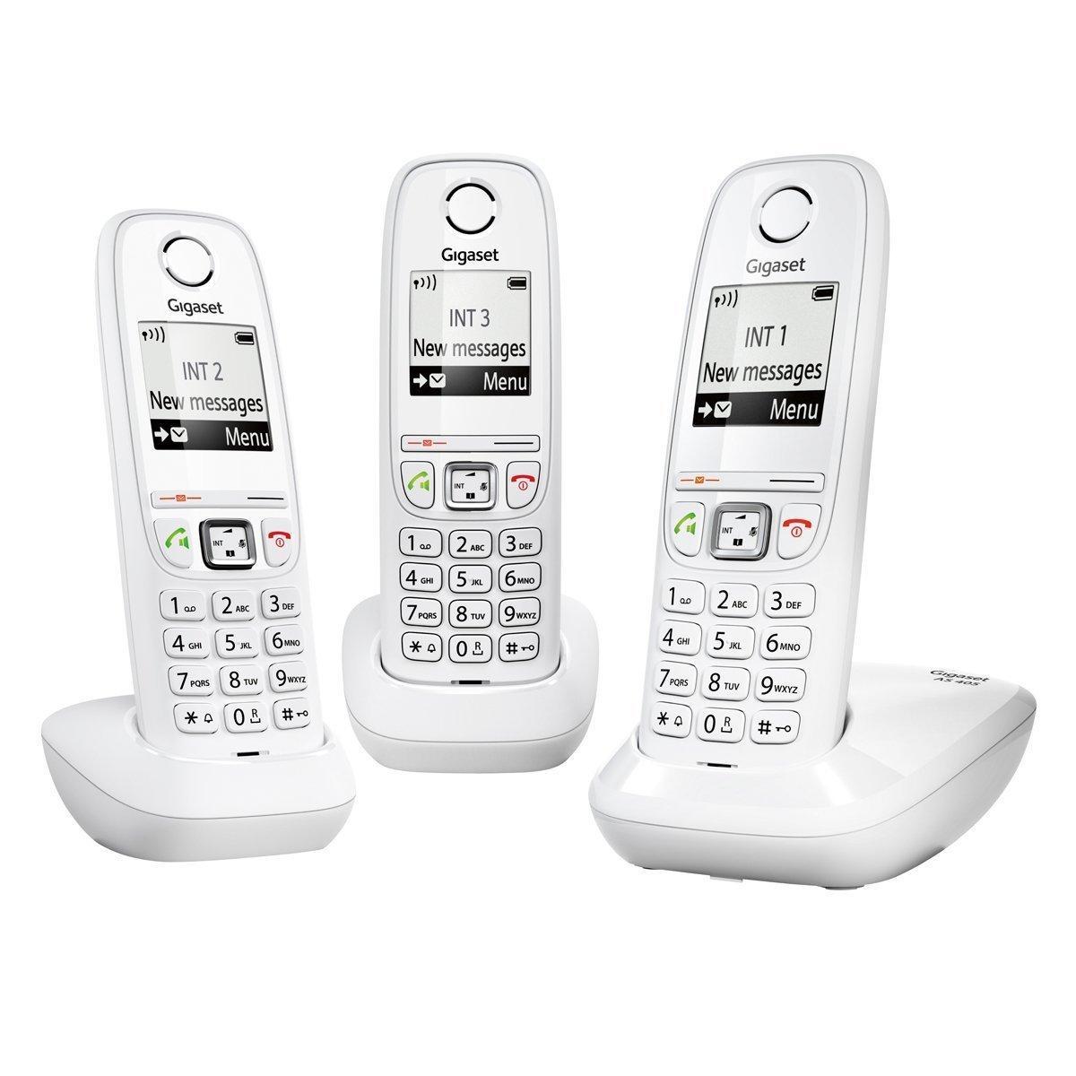 Téléphones fixes Trio Gigaset DECT/GAP AS405 Blanc - 3 combinés