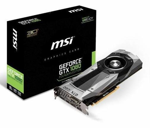 Carte graphique MSI GeForce GTX 1080 Founders Edition - 8 Go + 262.5€ minimum en 2 bons d'achats