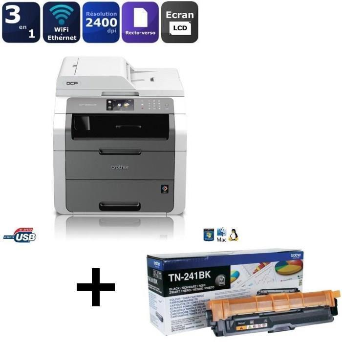 Imprimante Laser couleur Brother DCP-9020CDW + Toner TN-241BK Noir (via ODR de 60€)