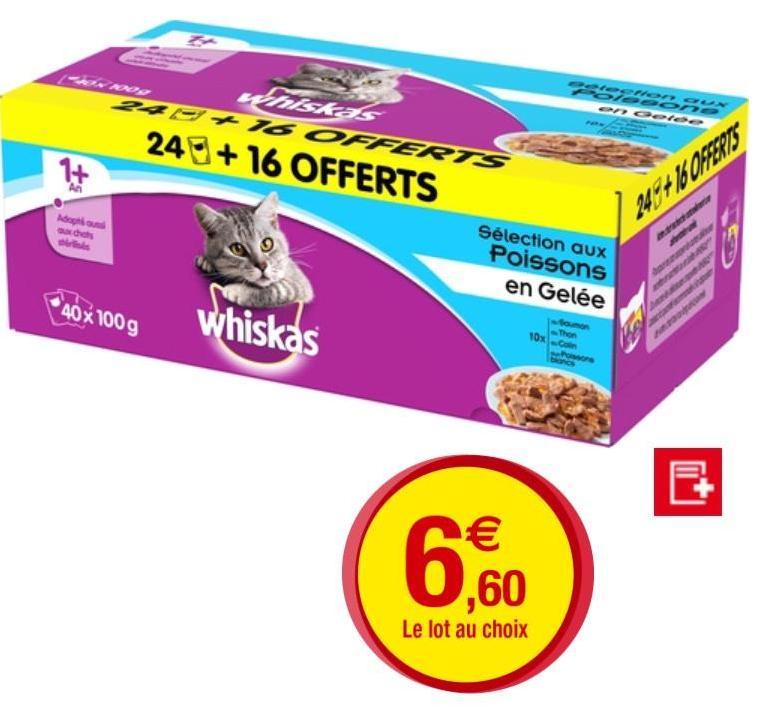 Boite de 40 sachets de pâtés pour chat Whiskas