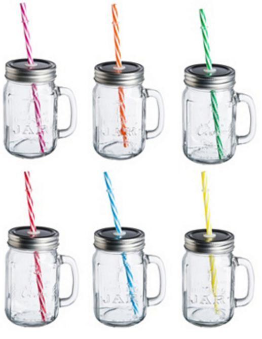 Lot de 6 drinking jar Ard'Time avec paille - 450ml
