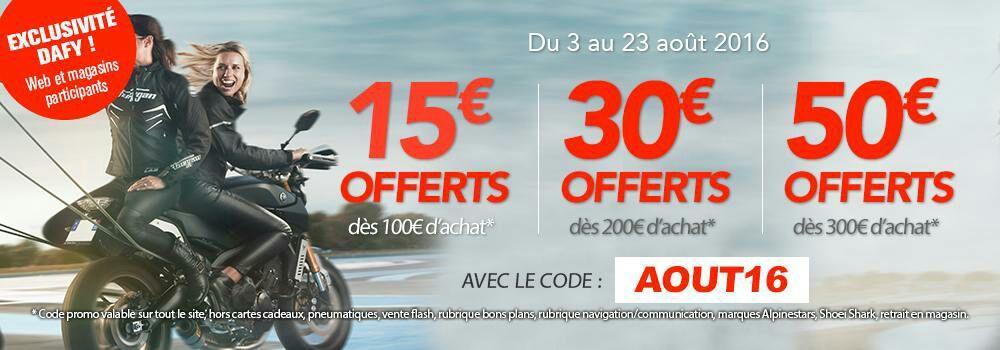 15€ de réduction dès 100€ d'achat, -30€ dès 200€ et -50€ dès 300€ d'achat sur tout le site