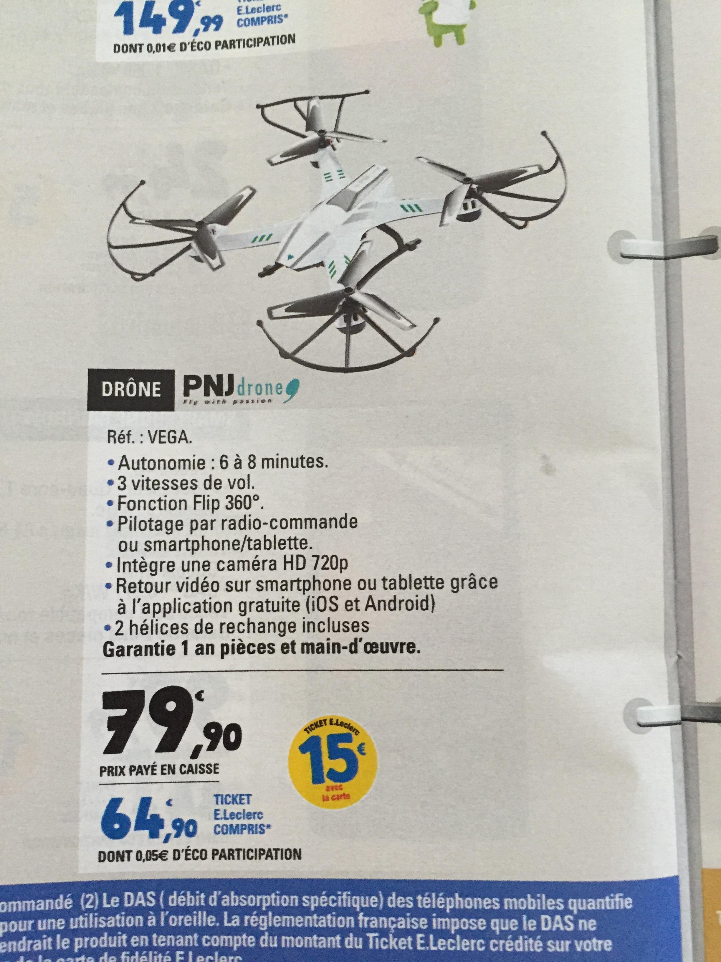 Drône PNJdrone Vega - Camera 720p (via 15€ ticket leclerc)
