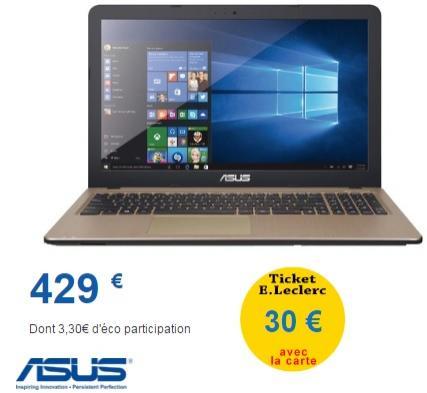 """PC portable 15,6"""" Asus (A8-7410, 8 Go de RAM, 1 To)"""