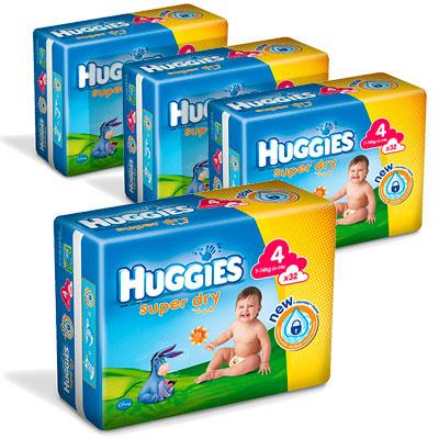 Lot de 4 paquets Huggies Super Dry (Taile 2 à 5)