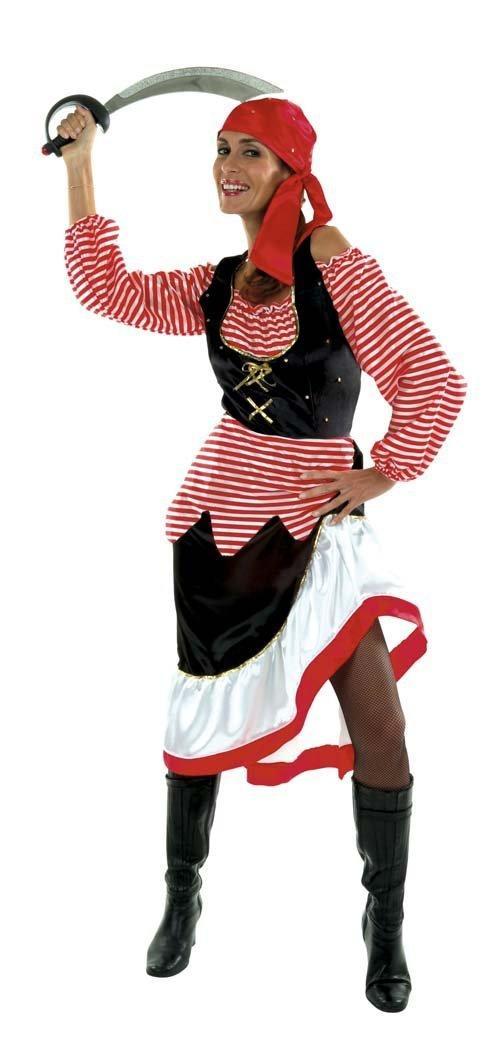 Déguisement de Pirate Cesar pour Femmes - Rouge / Noir, Tailles : 38 à 40