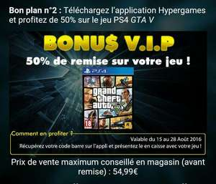 GTA V  sur PS4 via l'application Hypergames