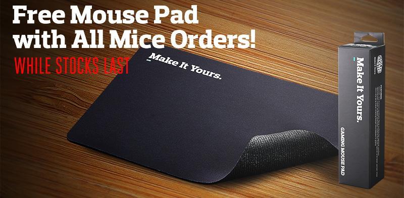 Un tapis de souris offert pour l'achat d'une souris cooler master
