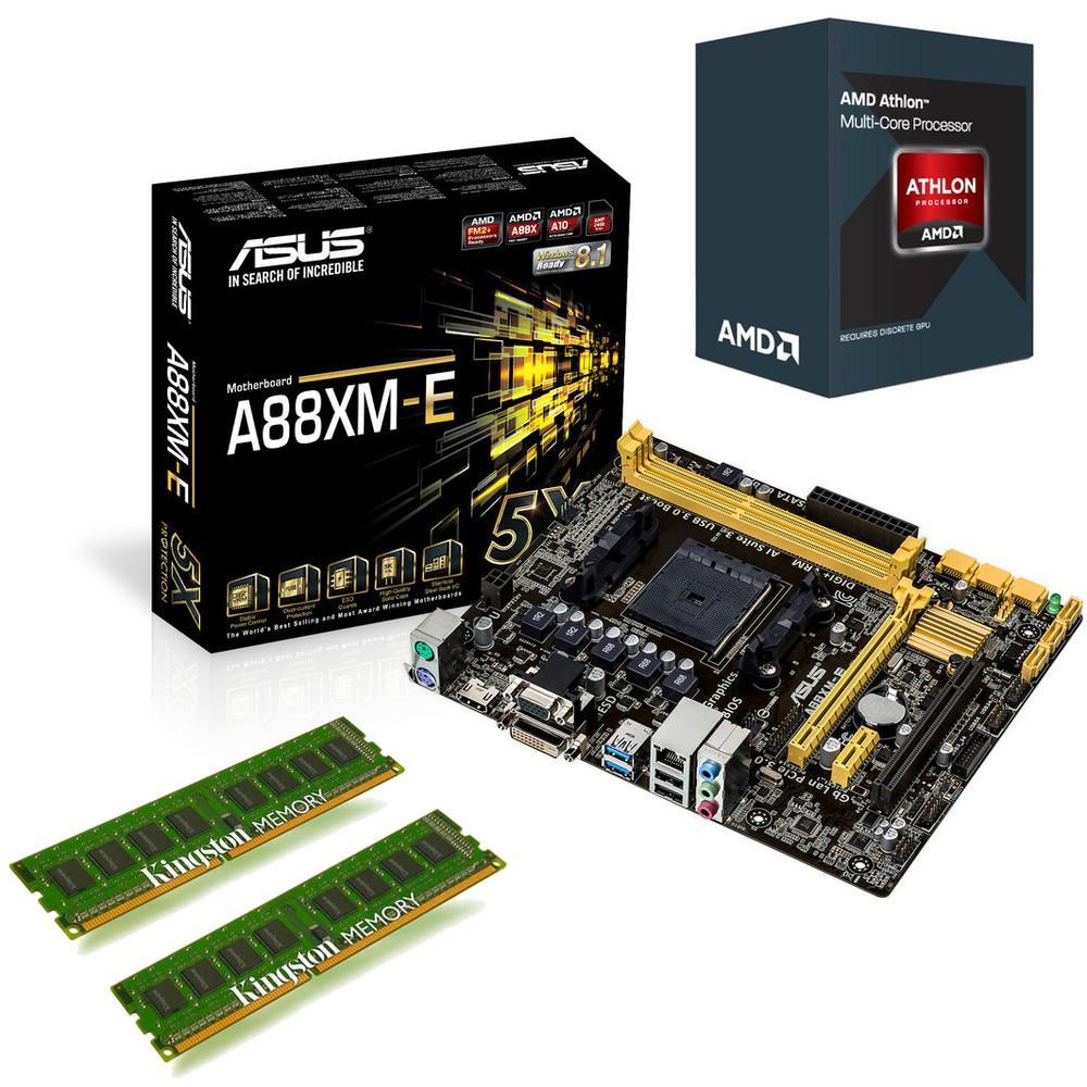 Kit évolution processeur AMD Athlon II X4 860K Quiet Cooler (3.7 GHz) + carte mère Asus A88XM-E + 8 Go Ram