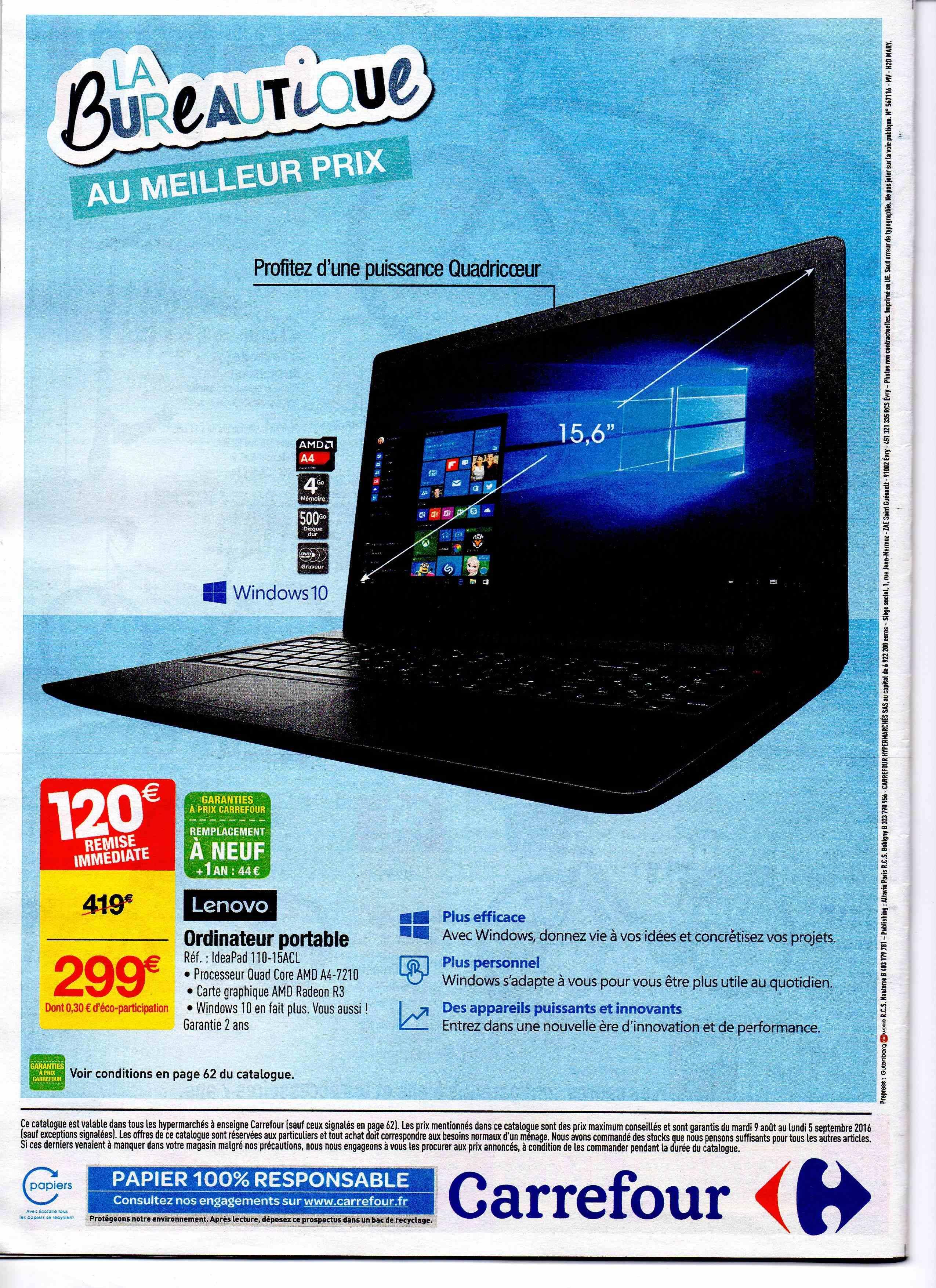 """Pc portable 15.6"""" HD Lenovo IdeaPad 110-15ACL (AMD A4-7210, 4 Go RAM, 500 Go HDD, AMD Radeon R3, Windows 10)"""
