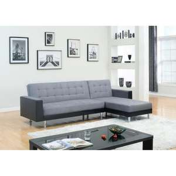 Canapé d'angle convertible Orlando 4 places - Noir et gris