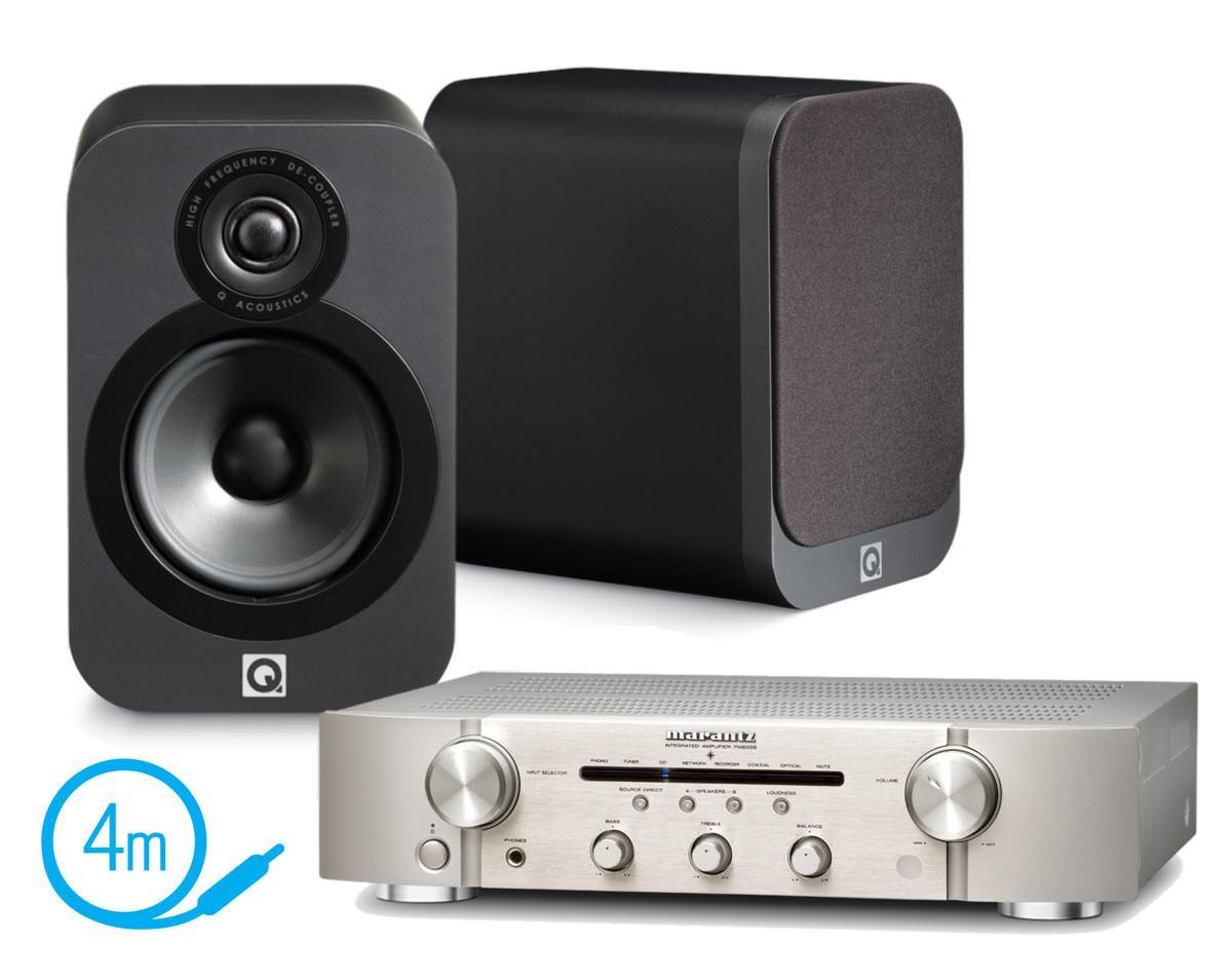 Ampli Marantz PM6005 silver + Paire d'enceintes bibliothèque Q Acoustics 3020 graphite+ Câble Audioquest G2 4m