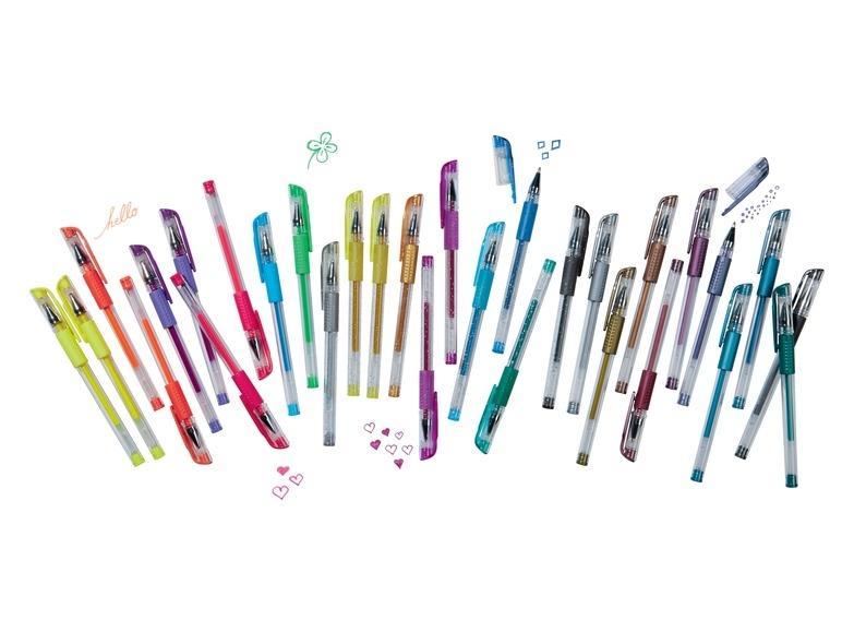 Lot de 30 Stylos rollers à encre gel United Office composé de 10 Fluos + 10 Paillettes + 10 Métallisés
