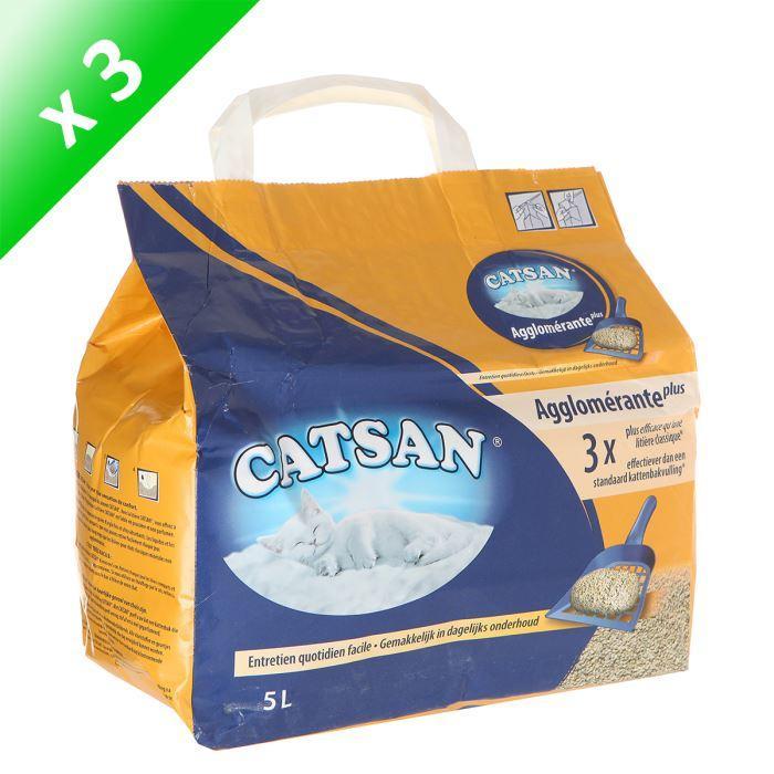 Litière Compacte Plus Agglomérante Catsan (5L) - Lot de 3