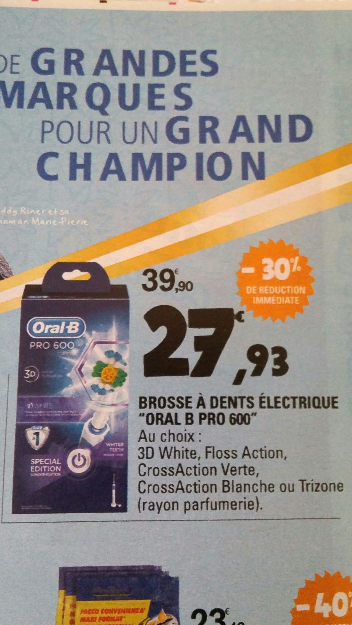 Brosse à dent électrique Oral-B Pro 600 (via ODR de 15€)