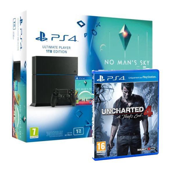 1 pack PS4 acheté = Uncharted 4 A Thief's End offert - Ex: Pack Console PS4 1To Noire + No Man's Sky + Uncharted 4