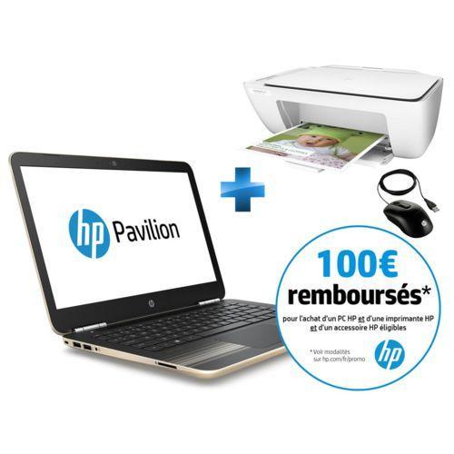 """Pc portable 14"""" Full HD HP Pavilion 14-AL010NF (AL010NF , 4 Go RAM, 256 Go SSD, GT 940MX, Windows10)   - Or + Souris optique filaire X900 + Imprimante tout-en-un DeskJet 2130 (via ODR 100€)"""