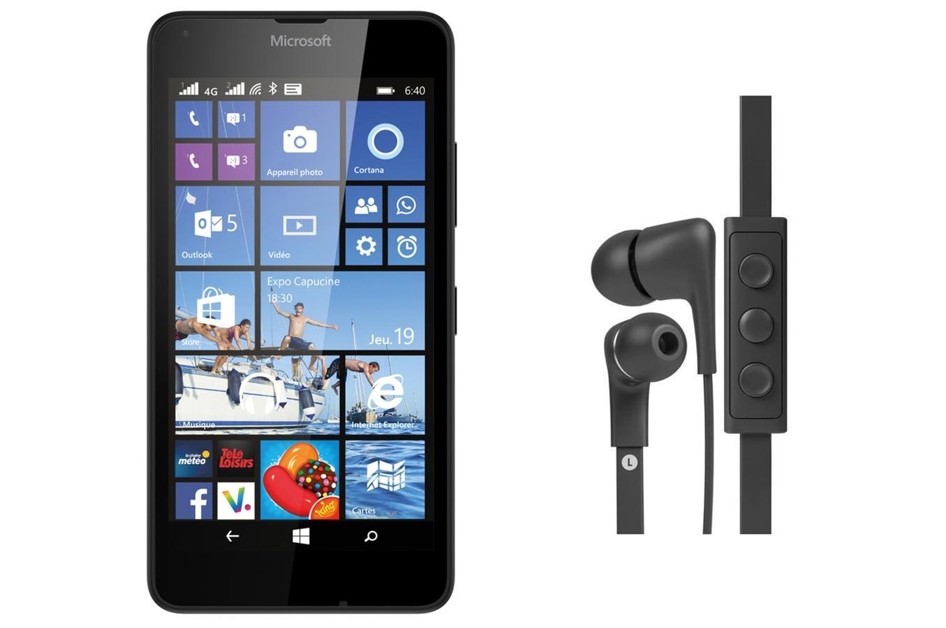 """Smartphone 5"""" Nokia Lumia 640 Noir + Casque intra-auriculaire Jays Five (via ODR de 30€)"""