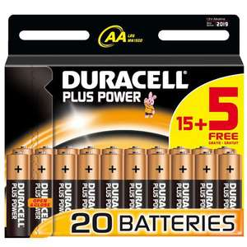 20 piles DURACELL Plus Power