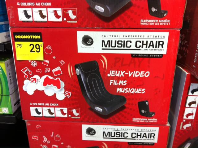Fauteuil avec enceintes stéréo Techmobility Music Chair blanc