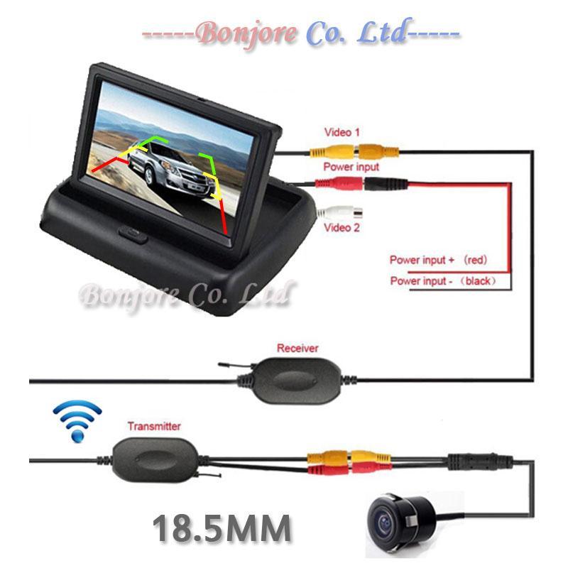 Kit camera de recul sans fil avec écran pliable