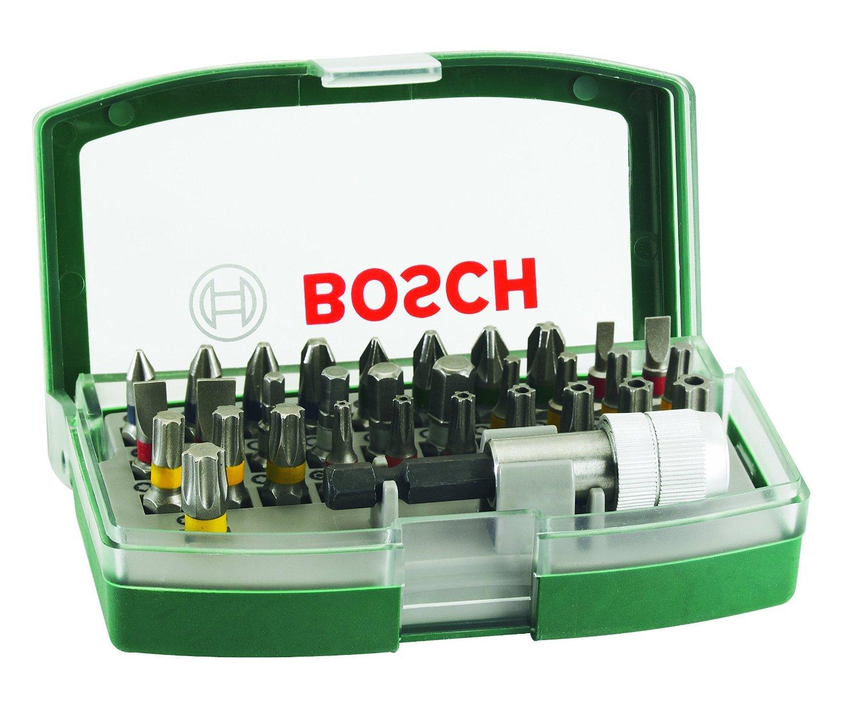 Boîtier d'embouts de vissage courts Bosch avec code couleur - 31 pièces et 1 porte-embout