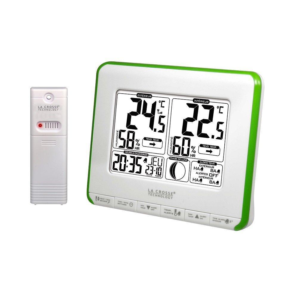 Station de températures La Crosse Technology WS6812W-GREEN avec alertes et phases de lune - Blanc/Vert
