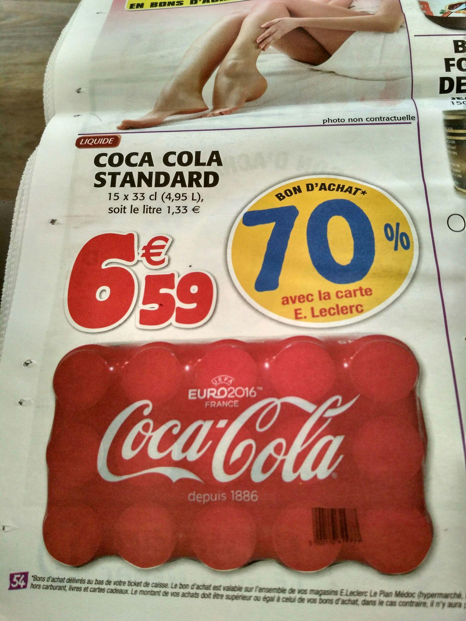 Sélection de produits en promotion - Ex : Pack de 15 canettes de Coca Cola 33cl (via 4.61€ sur la carte)