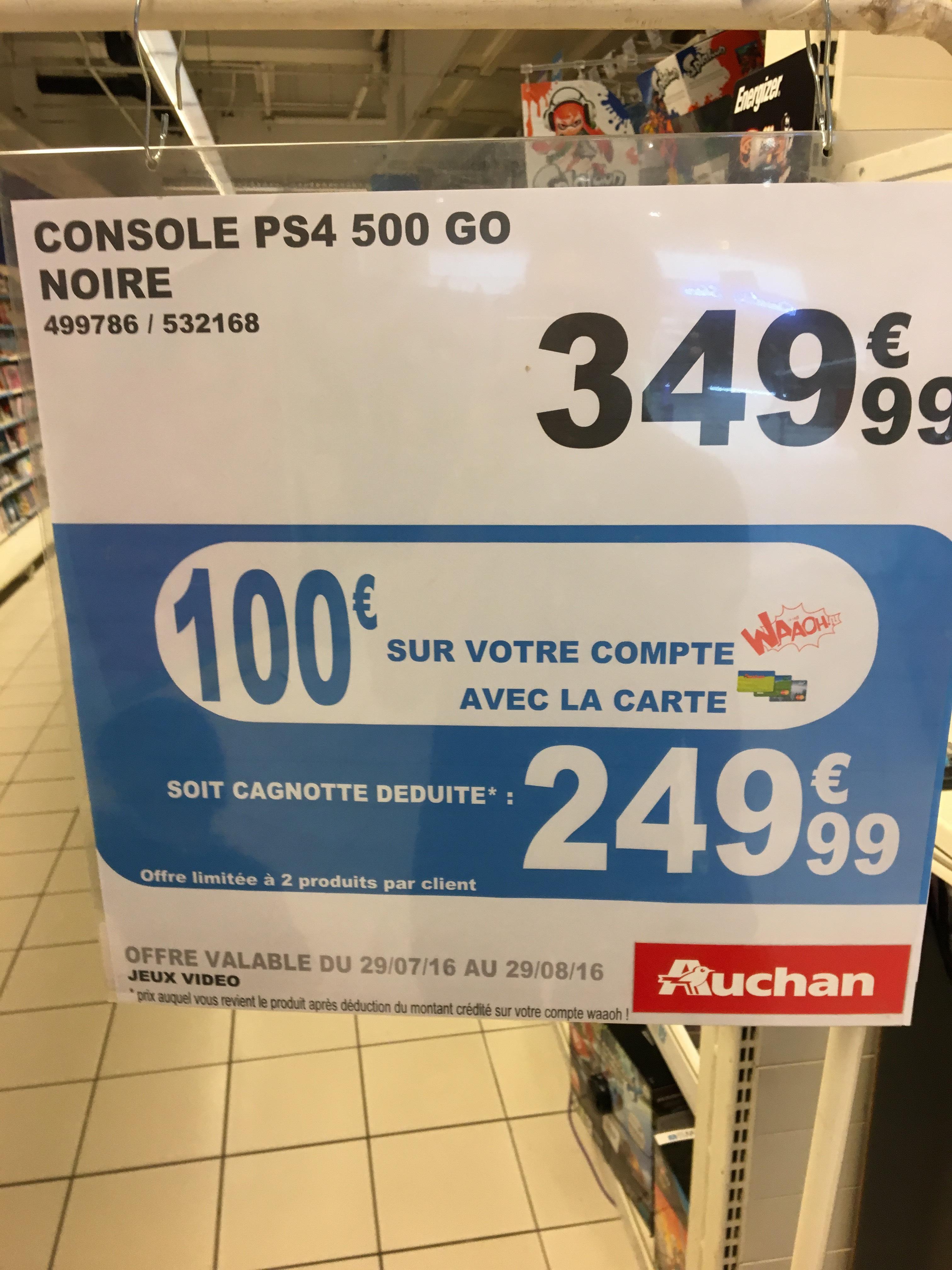 Console Sony PS4 500 Go CUH 1116A Noire (Avec 100€ sur la carte Waaoh)