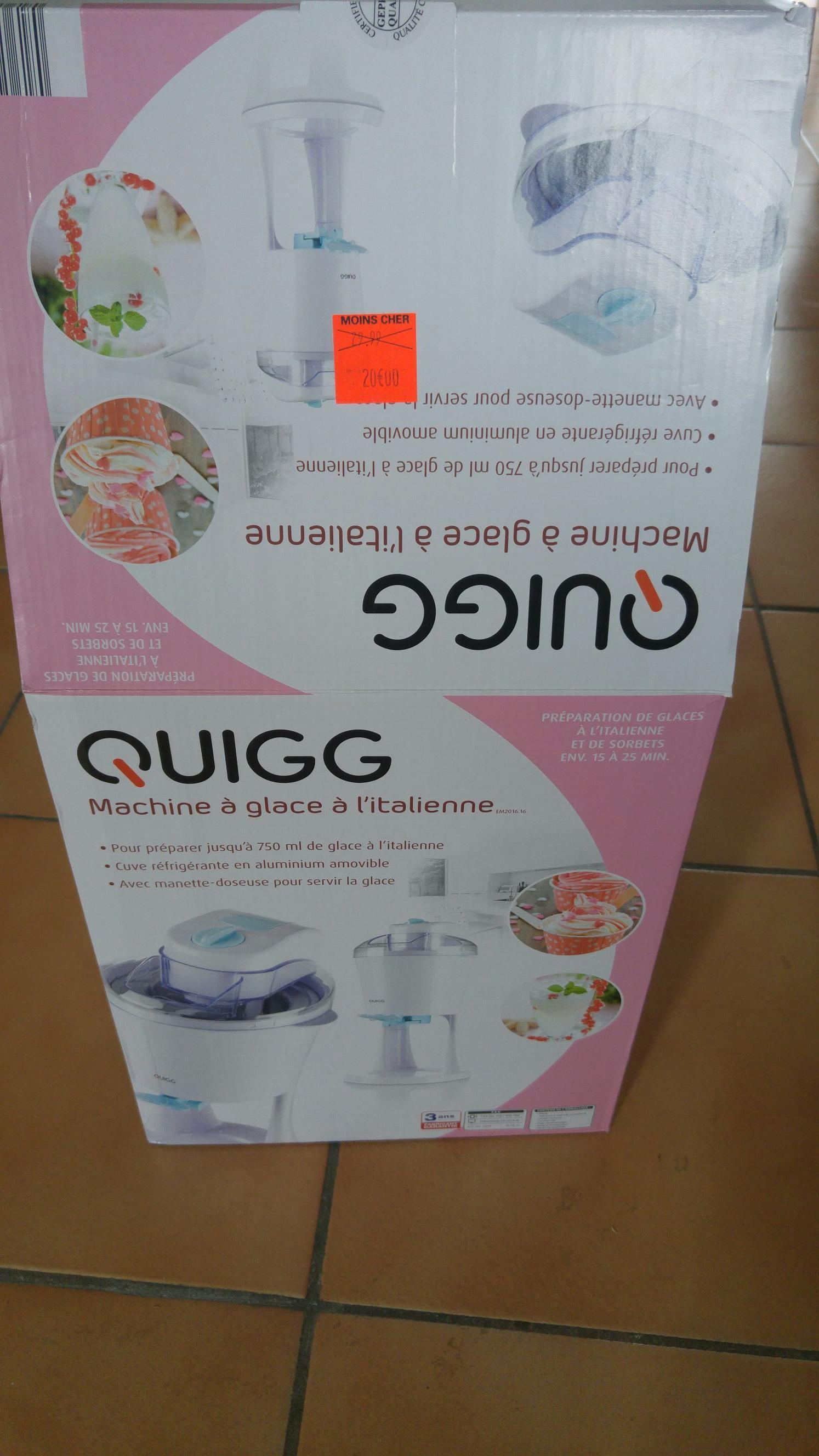 Machine à glaces à l'italienne Quigg